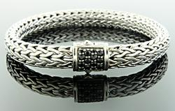 John Hardy Cable Bracelet with Black Sapphires