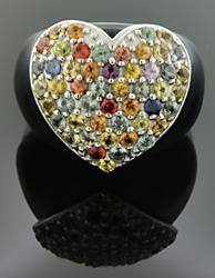 Sterling Silver Heart Shaped Gemstone Ring