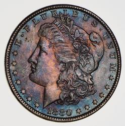 1880-O Morgan Silver Dollar, Colorful Tone