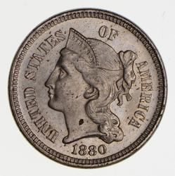 1880 Three-Cent Piece - Copper Nickel