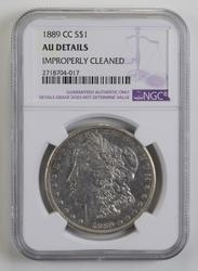 AU Details 1889-CC Morgan Silver Dollar - NGC Graded