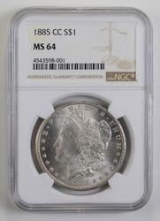 MS64 1885-CC Morgan Silver Dollar - NGC Graded