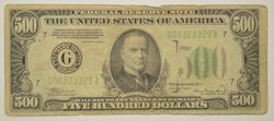 1934-A $500 Green Seal Federal Reserve Note