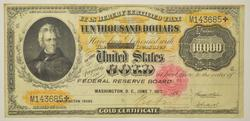 1900 $10,000 Gold Certificate Large Size