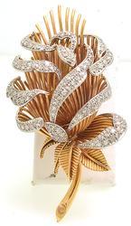 Vintage Diamond Flower Brooch, 18k Gold
