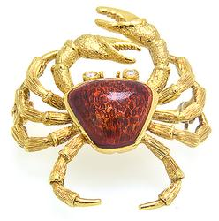 Enamel and Diamond Crab Brooch, 18K