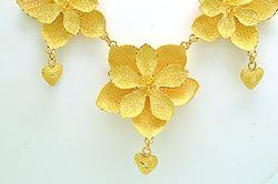 Luxurious 24KT Gold Flower Necklace