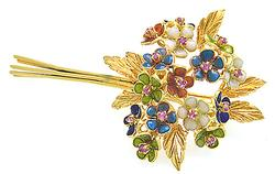 Finely Crafted 18kt Cloisonne Bouquet Brooch