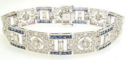 Platinum 5.6CTW Diamond and Sapphire Bracelet