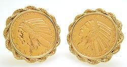 Matching 1909 Indian Half Eagle Cufflinks