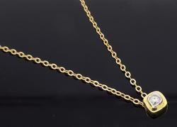 Dainty 14K Yellow Gold Diamond Necklace
