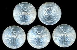 5 Superb Gem BU 1985 Mexico 1 Onza Pura Silver Coins