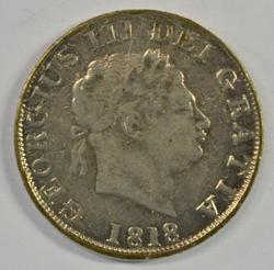 Very Nice 1818 Great Britain Silver Half Crown. Scarce