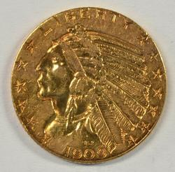 Desirable 1909 US $5 Indian Gold Piece. Nice