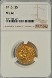 Very Choice BU 1913 $5 Indian Gold Piece. NGC MS61