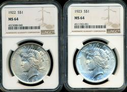 Near Gem BU 1922 & 1923 Peace Silver Dollars. NGC MS64