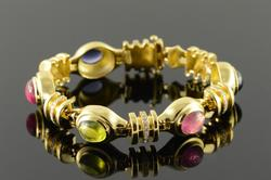 Gorgeous 11+ctw Gemstone & Diamond Intricate Bracelet