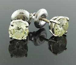 Faint Yellow 1.84 CTW Diamond Studs