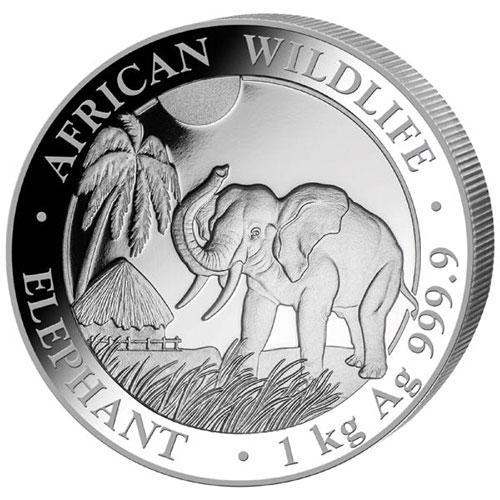 2017 1 Kilo Fine Silver Elepahant, Somalia
