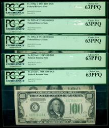 5 CU 1934 Series $100 Fed Res Notes in Sequence. PCGS