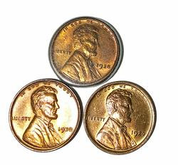 1920 1928 and 1930 Red BU Lincoln Cents