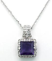 Amethyst & Diamond Pendant Necklace at 3.2 CTW