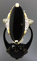 Marquise Cut Black Onyx Ring with Diamonds