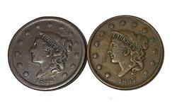1837 Plain Cord Sm Letter & 1838 Large Cents