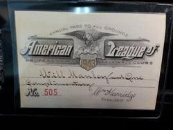 1943 American League Baseball annual pass No. 505