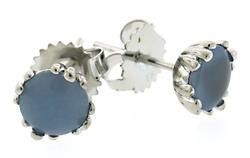 Chalcedony Stud Earrings in White Gold