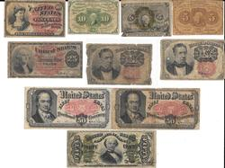 10 Various pieces of Fractional Currency