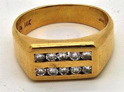 Gents Double Diamond Row Design Gold Ring
