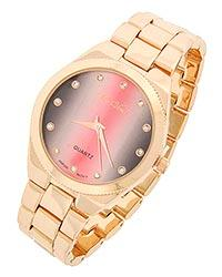 Charming Gold Tone Pink & Grey With Rhinestone Watch