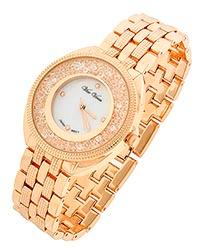Charming Rhinestone Accented Rose Gold Tone Watch