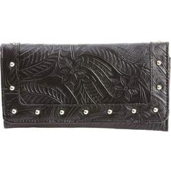Woman Black Leather Wallet With Design