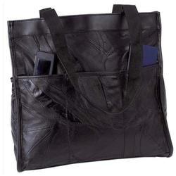 Large Black Leather Shopping Tote Shoulder Bag