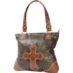 Brown Leather Purse With Cross Embossed On Front