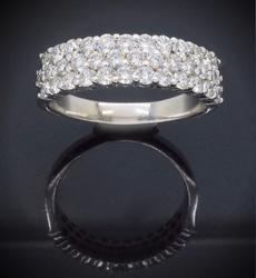 Stunning 3 Row Diamond Ring 1.10CTW