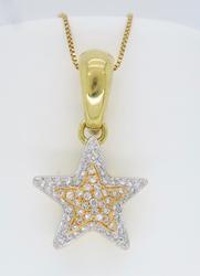 18k Designer Diamond Star Pendant