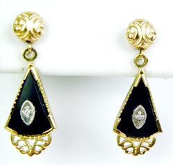 Antique 14K Onyx & Diamond Earrings