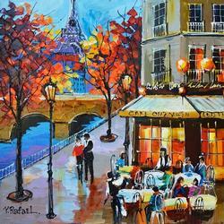 Original Acrylic Yana Rafael Couple Outside The Cafe