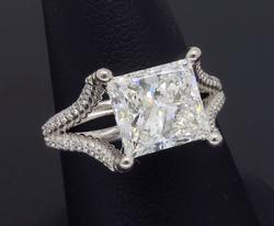 GIA Certified 3.+ CT Princess Cut Diamond Ring