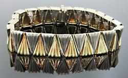Heavy Two Tone Fan Bracelet is 14K Gold