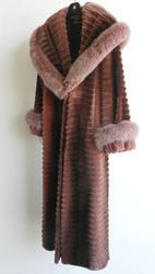 Finest Quality Rose Sheared Mink Coat With Fox Trim