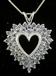 Two Tone Open Heart Pendant Necklace with Diamonds