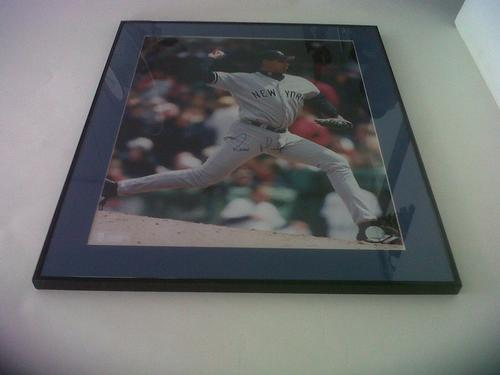 NY Yankees Auto. Ramiro Mendoza 16 x 20 Framed Photo
