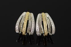Beuatiful Yellow & White Diamond Earrings in 18kt Gold