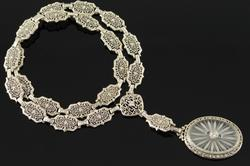 Vintage Diamond Sapphire Camphor Art Deco Necklace