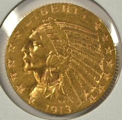 Very nice 1913 US $5 Indian Gold Piece. Lovely