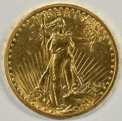 Attractive 1908 No Motto St. Gaudens $20 Gold Piece